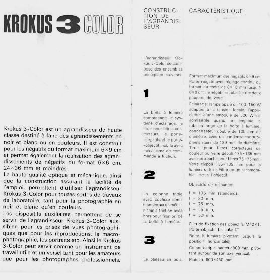 Mode d'emploi du Krokus 3 Color